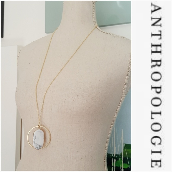 Anthropologie Jewelry - NWOT ANTHROPOLOGIE GOLD PENDANT MARBLE NECKLACE